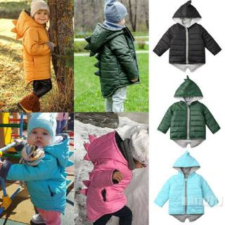 Mu♫-Toddler Kids Baby Girl Boy Hoodies Outwear Coat 3D Dinosaur Winter Warm Jacket