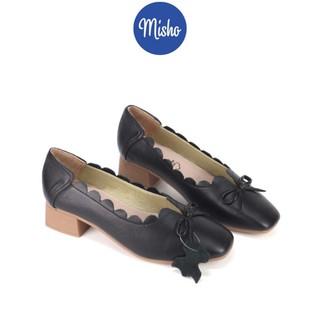 Giày búp bê da thật đế 3cm Misho 1047