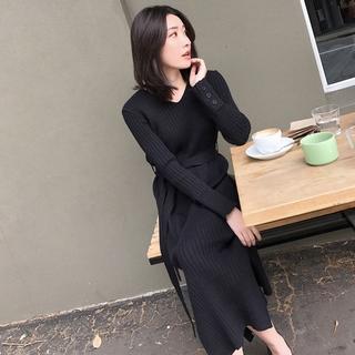 Đầm Dệt Kim Tay Dài Dáng Dài Qua Gối Thiết Kế Đơn Giản Trẻ Trung Hợp Thời Trang