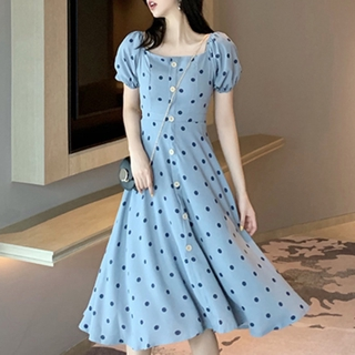 Spot spring retro puff sleeves slim high waist polka dots square collar dress