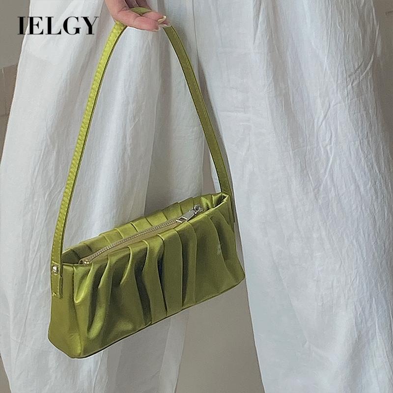 Túi đeo một bên vải lụa màu trơn phối khóa kéo hợp thời trang cho nữ