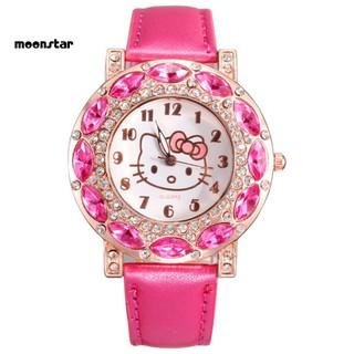 Đồng hồ dây giả da đính đá hình Hello Kitty cho bé gái