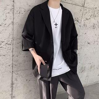 [Hàng sẵn] Áo Blazer Nam Tay lỡ, Form Dáng Rộng Áo Khoác Mùa Hè Phong Cách Cá Tính Màu đen, BE BZ05