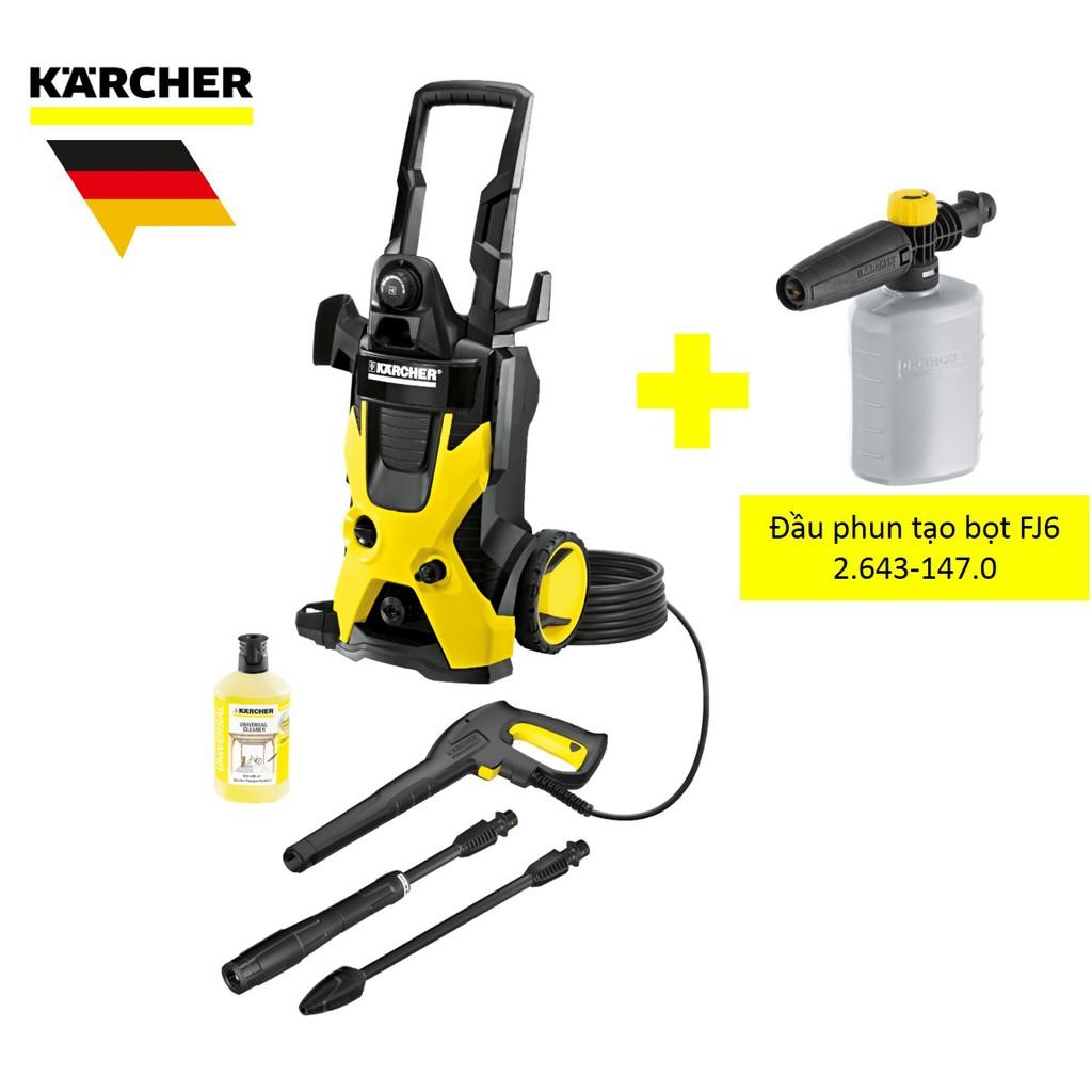Combo máy xịt rửa xe Karcher K5 và đầu phun tạo bọ