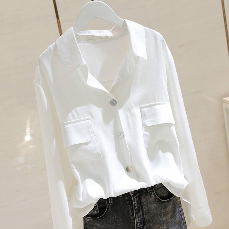 กระเป๋าคู่คอวีเสื้อเชิ้ตแขนยาวสีขาวเพศหญิงหลวม 2019 ต้นฤดูใบไม้ร่วงใหม่เสื้อบางเสื้อเชิ้ตสีอ่อน