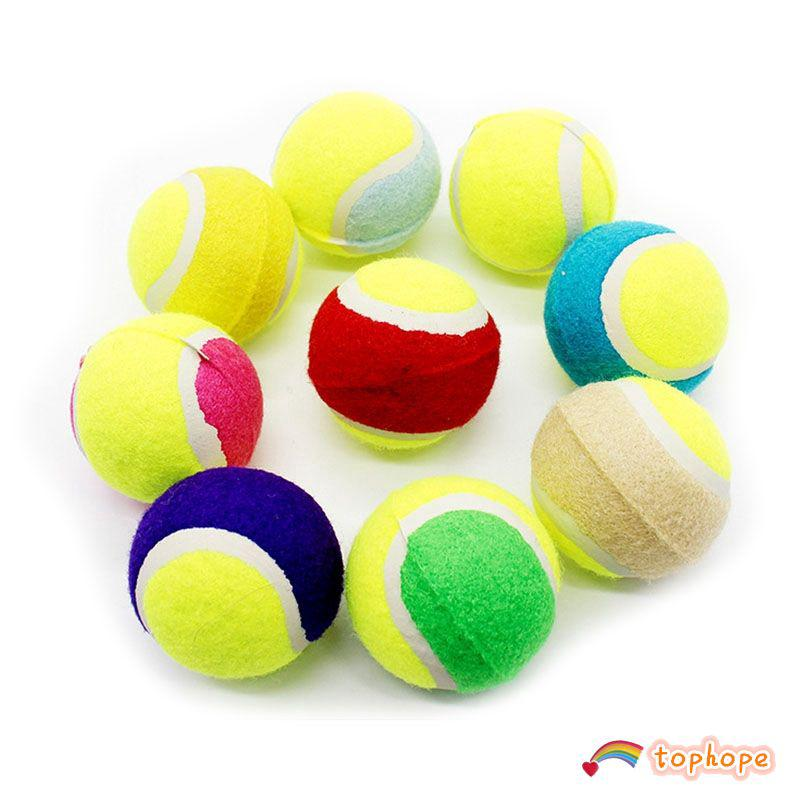Pet Chewing Natural Rubber Tennis Ball Safe Resistant Bouncy Ball Toy Tophope