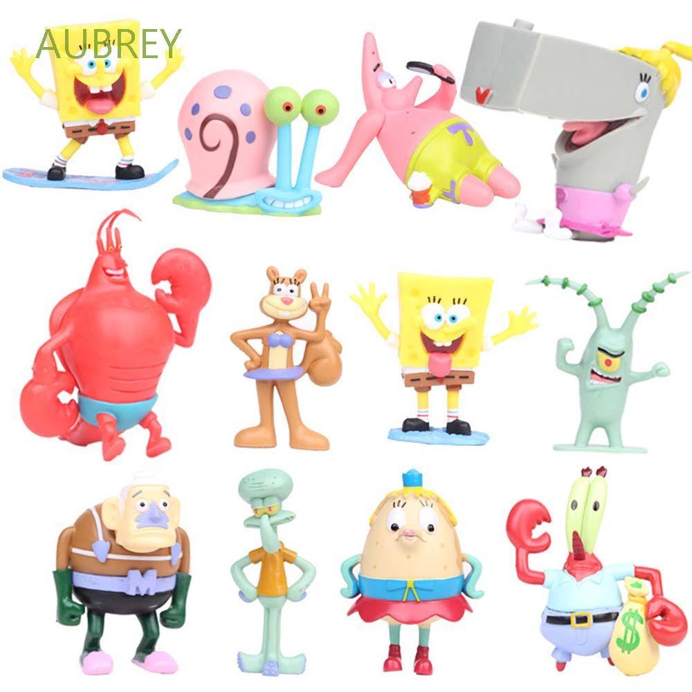 AUBREY Cartoon Action Figurine Cute SpongeBob Figure Toys Patrick Star Pineapple House Octopus house Kids Toys Sponge Crab boss Model Toys