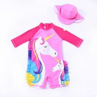 Đồ bơi liền thân cho bé gái + tặng kèm nón che nắng