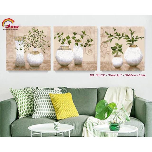 Bộ tranh sơn dầu số hoá tự tô màu DIY lọ hoa trang trí - Mã BH1035 Thanh lịch