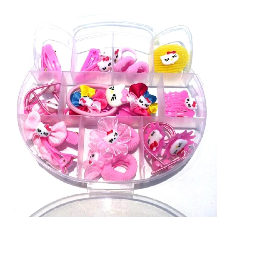 Hộp Phụ kiện tóc dành cho bé gái màu hồng dễ thương