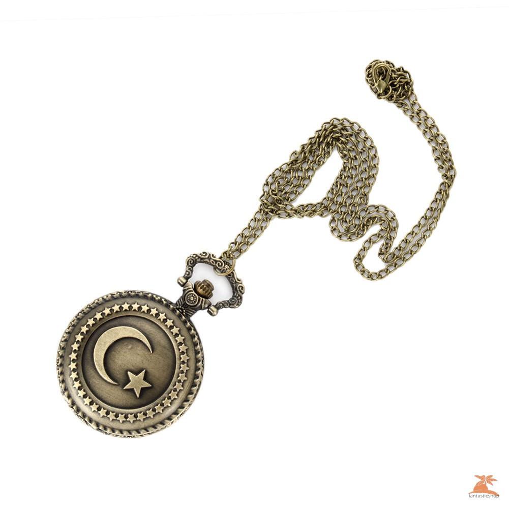 #Đồng hồ bỏ túi# Antique Bronze Turkish Flag Design Moon and Star Theme Quartz Pocket Watch With Necklace Chain