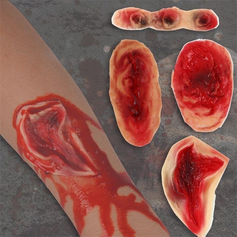 Newest Halloween Horror Zombie Scar Temporary Bleeding Wounds Body Sticker Gifts