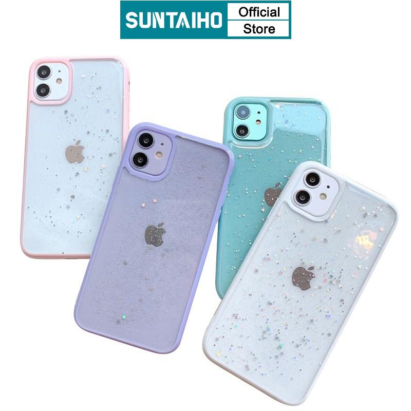 Ốp Điện Thoại Suntaiho Bằng Nhựa Silicon Chống Sốc Đính Kim Tuyến Cho iPhone 11 Pro Max XS XR X 7 8 Plus SE 2020