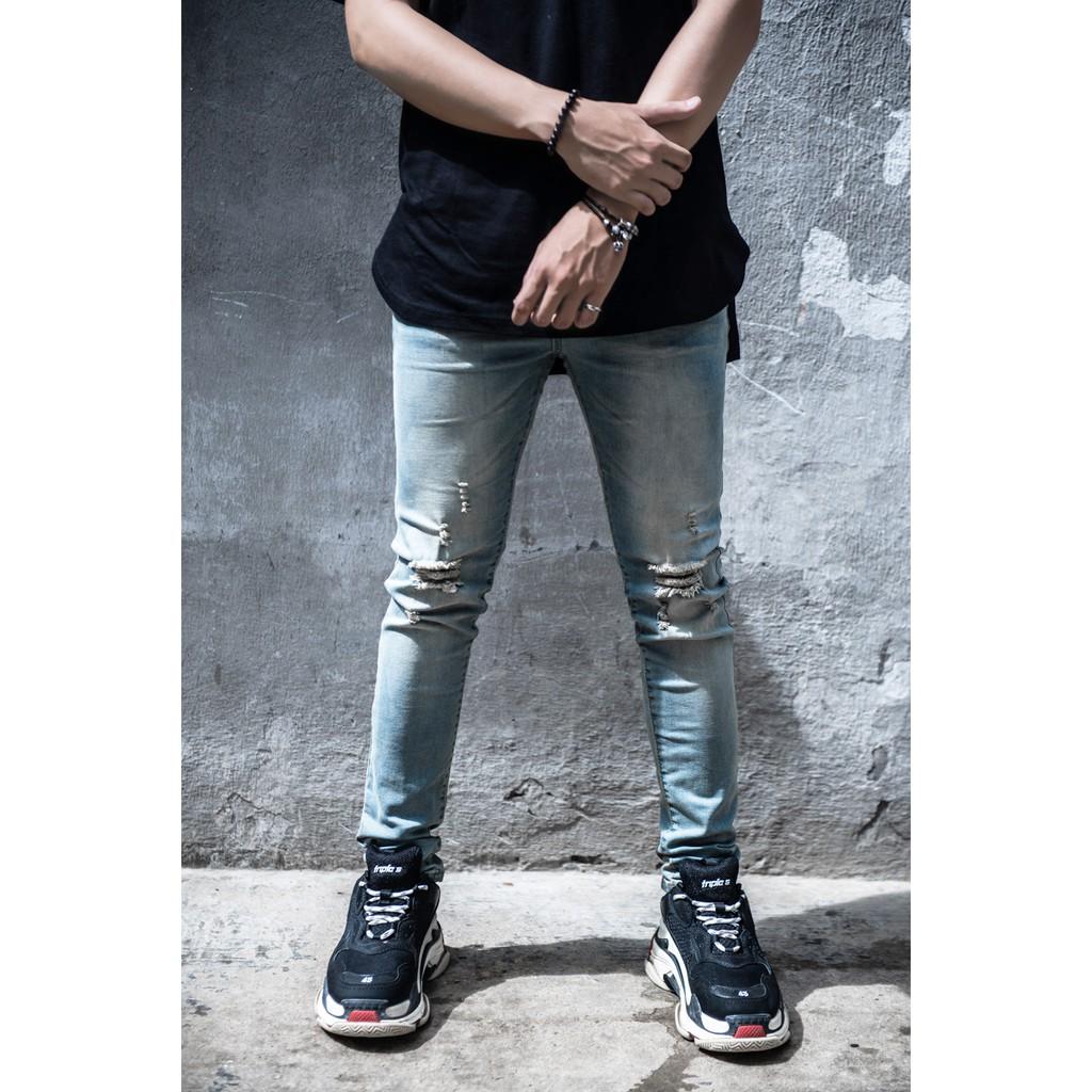 Destroyed Skinny Fit Denim - Quần Jean Skinny
