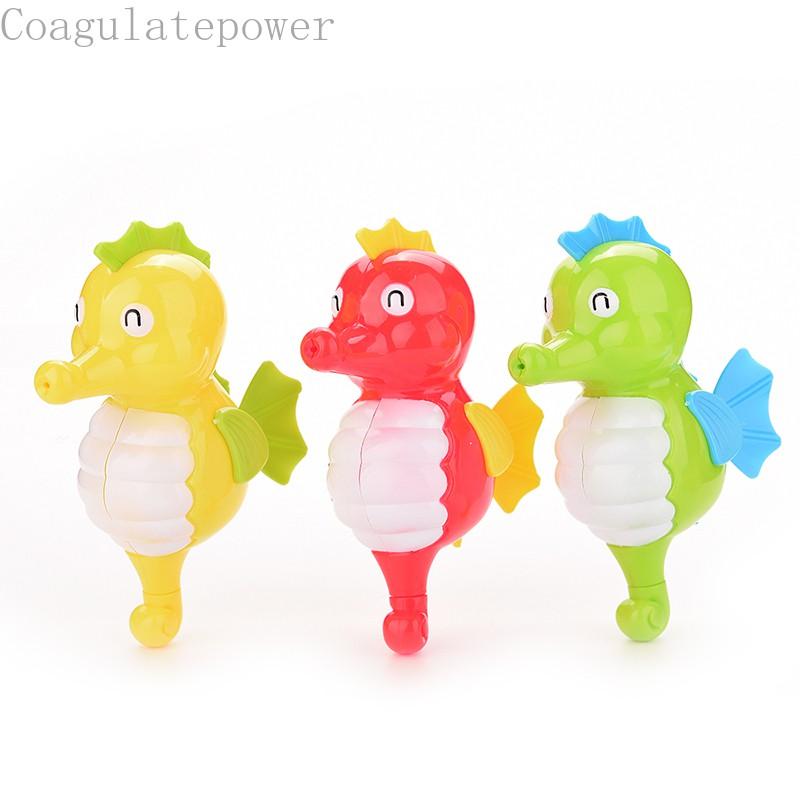 Coagulatepower 1 Pcs Funny Wind Up Clockwork Swimming Hippocampus Cartoon Animal Baby Bath Toy