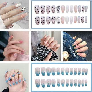 Polka Dot Candy Color French Hill Nail Patches 24 Pieces