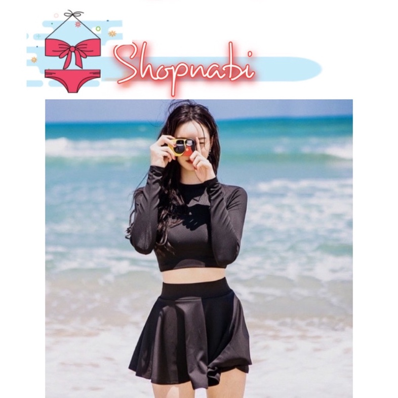 CÓ SIZE Đồ bơi bikini tay dài croptop đen trơn, quần short hoặc váy