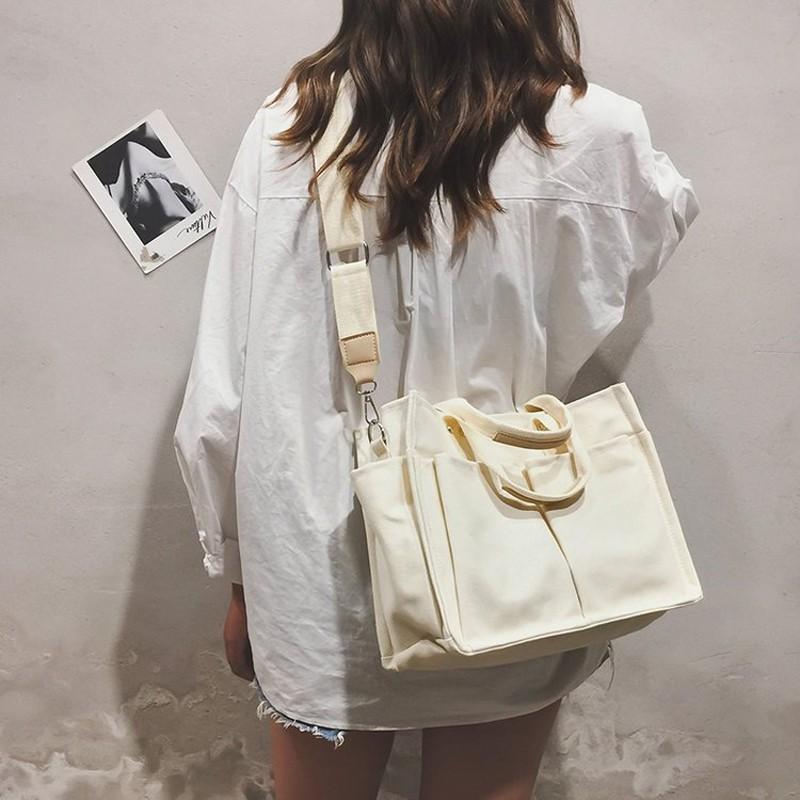 Túi Xách Vải Canvas Thời Trang Phong Cách Hàn Quốc Cho Nữ