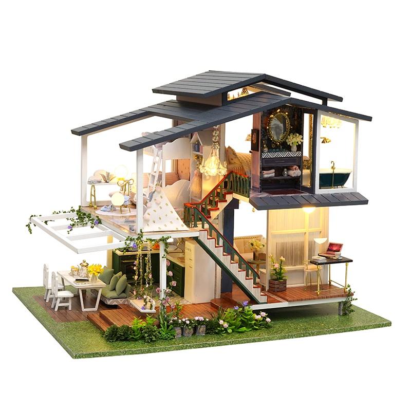 Nhà búp bê lắp ghép DIY HOUSE Monet Garden Cute Room Cao 25cm x Rộng 25cm Dài 32cm Tặng kèm Mice Cót nhạc và dụng cụ