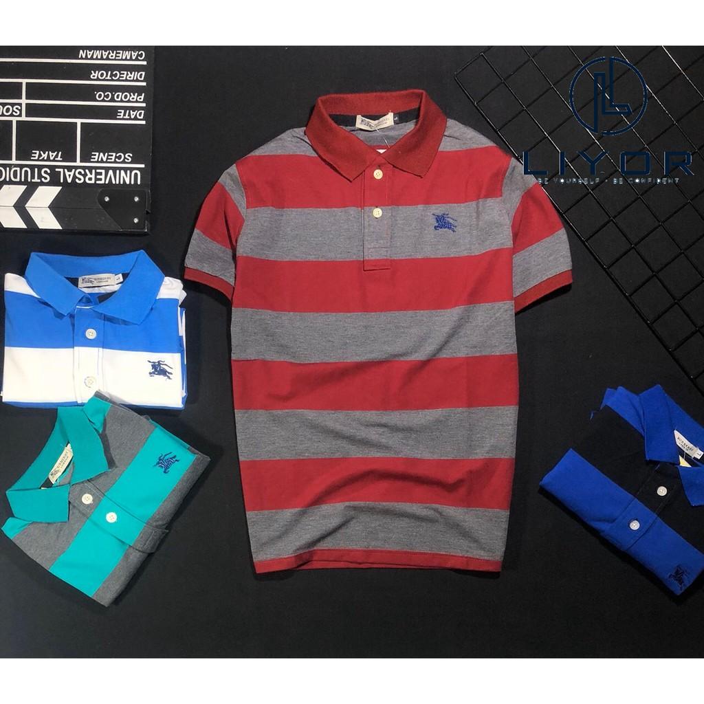 Áo thun nam FREESHIP áo phông có cổ thiết kế sọc ngang LỊCH LÃM và CAO CẤP Liyor-TACB4037