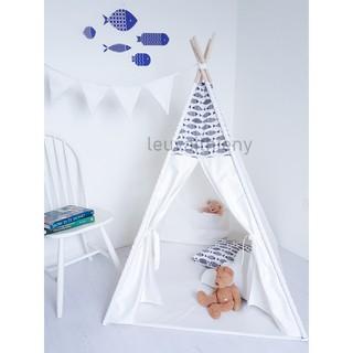 Lều vải cọc gỗ cho bé, vải cotton 100% canvas con cá gỗ tự nhiên, lều vải Thiên Ý