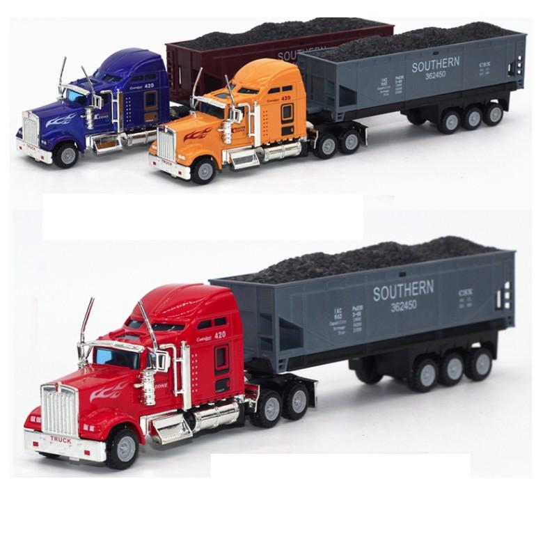 Mô hình xe container có thùng chở hàng tỉ lệ 1:48 đầu xe bằng sắt có thể tháo rời
