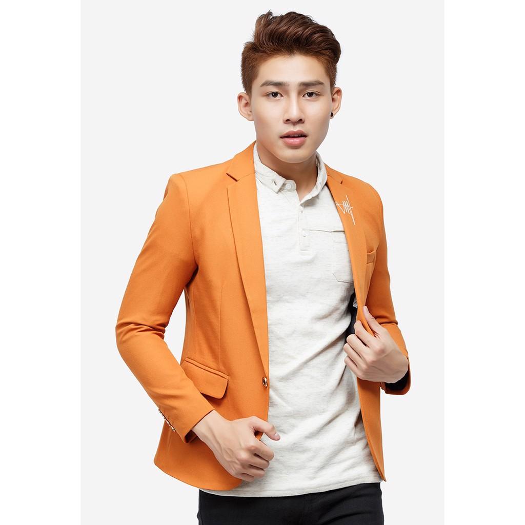 Áo vest nam màu cam cổ bẻ thêu họa tiết Titishop AVN62