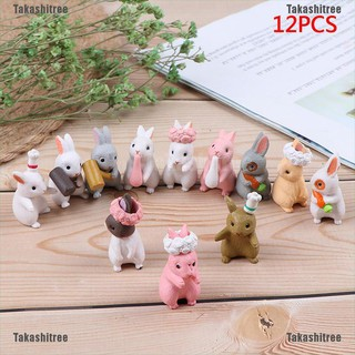 Takashitree✐3pc/lot Cartoon Rabbit action Figures animal model Family Miniature Figurine DIY