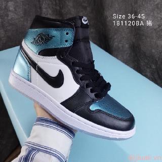 Jordan ∕ AIR Jordan1 AJ1 thật hai lớp da thật và giày bóng rổ nam tiêu chuẩn cỡ 36-46