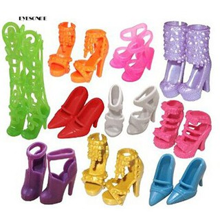 ♕10 Pairs Fashion Assorted Different Shoes Boots for Dollhouses Girls Toy Gift
