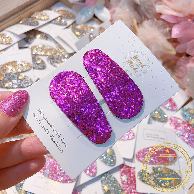 0876Close South Korea's new fashion sequins candy color hairpin rainbow oval BB