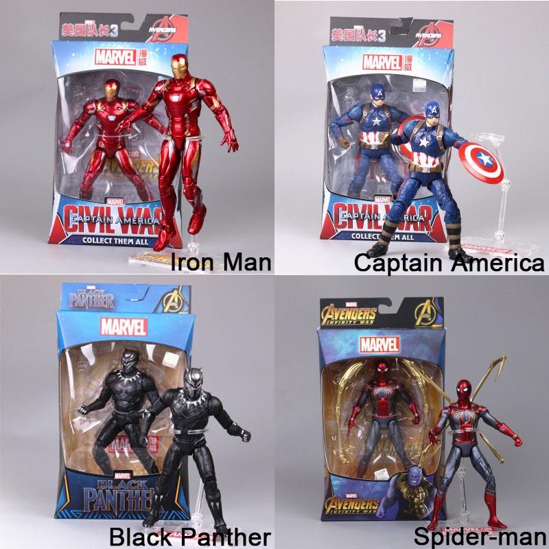 17cm Marvel Avengers Mô hình đồ chơi Người nhện Iron Man Captain America Black Panther