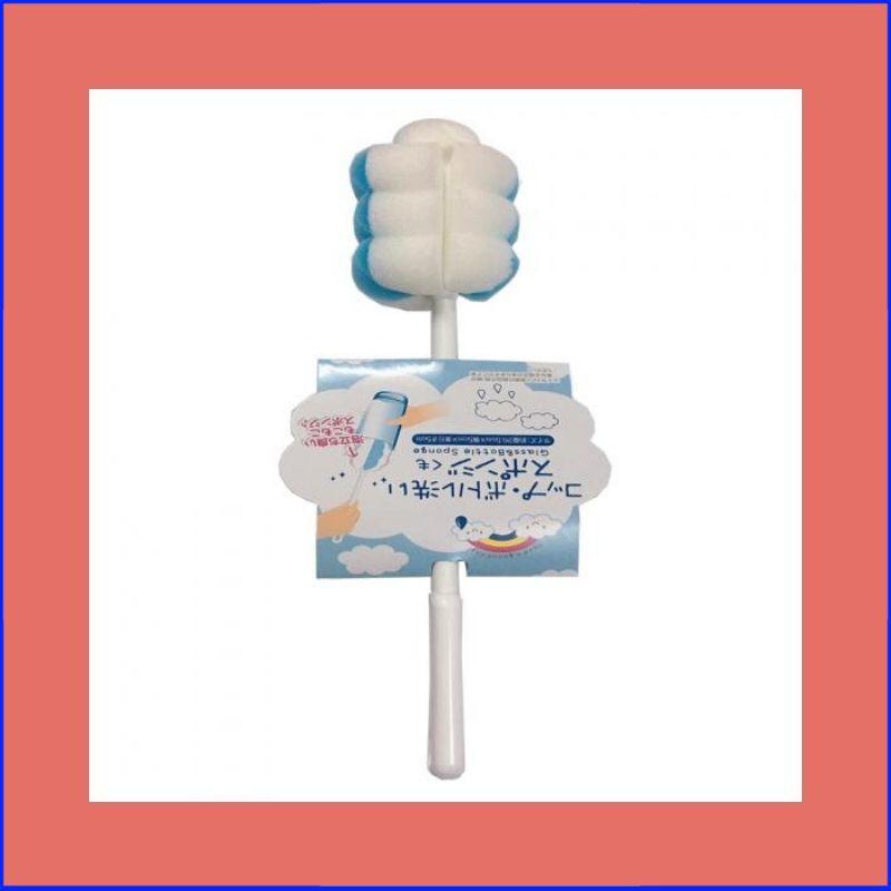 [HOT_ HOT]Sản phẩm Dụng cụ cọ rửa chai lọ, bình sữa mút xốp (màu xanh,trắng)