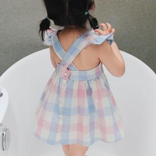 Đầm xòe cộc tay phối bèo họa tiết caro cho bé gái