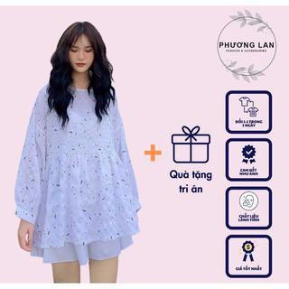 Áo Babydoll [FS] Áo đũi trăng tay bồng hai màu bánh bèo dành cho nữ hoạ tiết thêu thumbnail