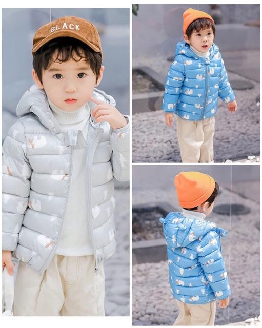 Áo phao siêu nhẹ có mũ tai gấu hoạ tiết nhỏ màu sắc tươi sáng cho bé yêu