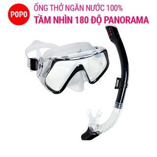 Bộ mặt nạ lặn ống thở POPO 1526 mắt kính cường lực, ống thở van 1 chiều ngăn nước tuyệt đối