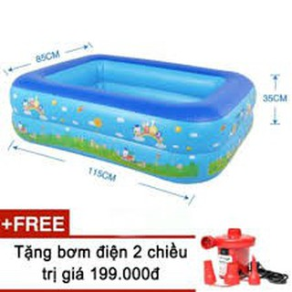 Bể bơi phao 2 tầng cho bé (115x85x35cm) kèm bơm điện đỏ 2 chiều[Giảm giá sốc]