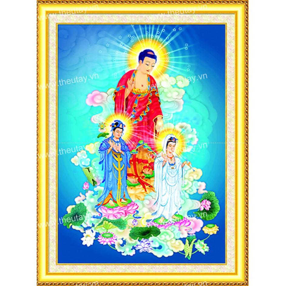 Tranh đính đá kim cương AB Tây Phương Tam Phật E0078