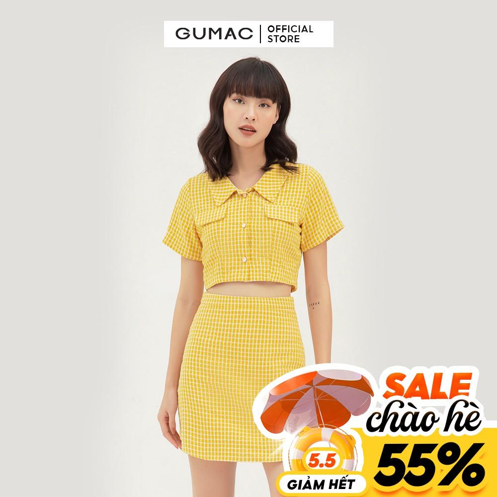 [Mã WABRGU55 giảm 15% đơn 149K] Chân váy nữ caro GUMAC phong cách cá tính, năng động màu vàng VB333