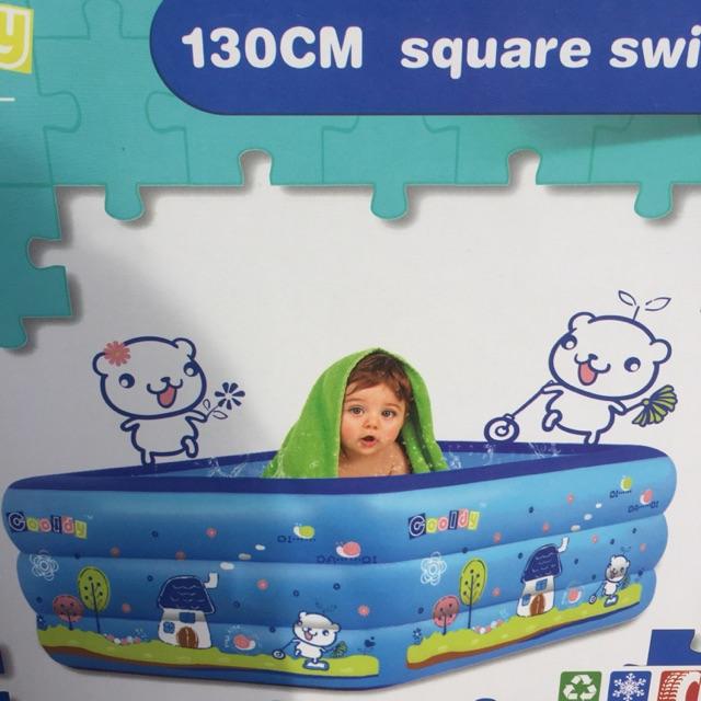 Phao bơi bể tắm cho bé 3 tầng rộng 1m3 tặng kèm bộ vá phao