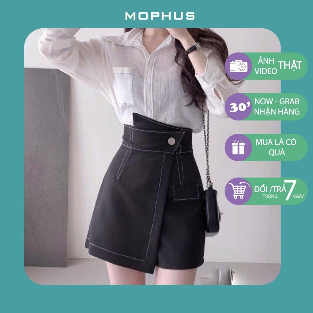 Quần giả váy quần chân váy cạp chéo viền chỉ nổi phong cách Hàn Quốc Mophus MV010