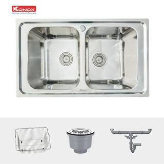 Chậu rửa bát KONOX European Premium KS8650 2B, inox 304AISI, full set gồm Siphon+Giá úp bát inox