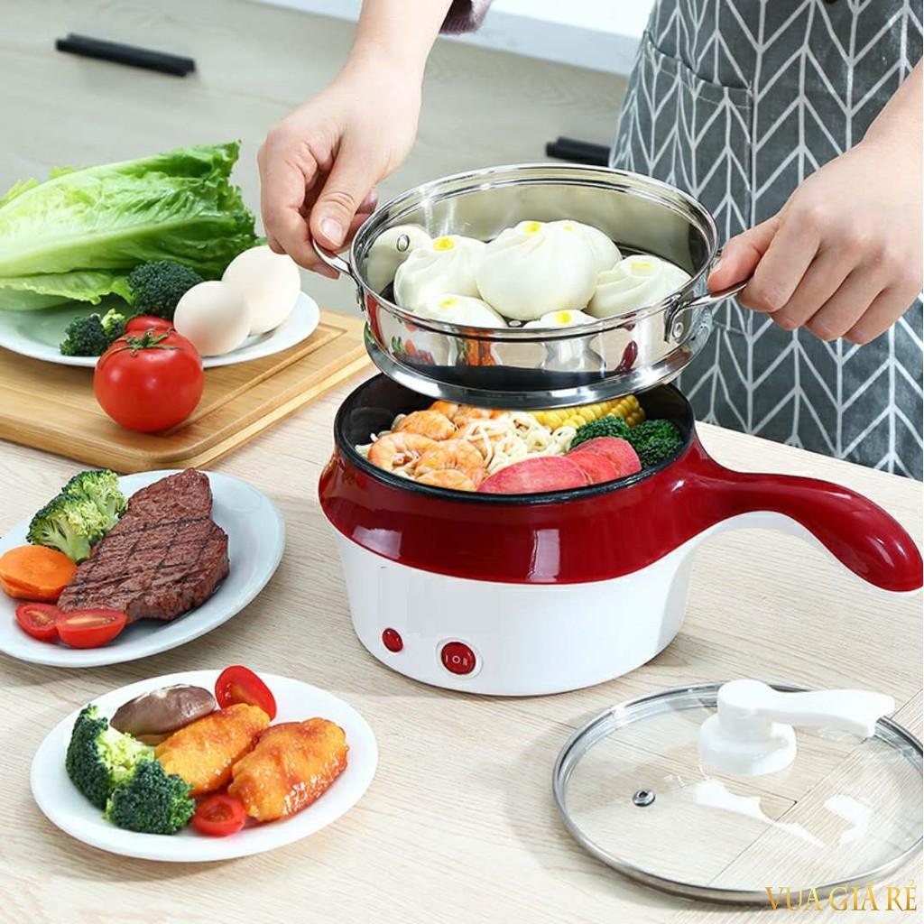 Nồi Lẩu Điện Mini Đa Năng, Nấu Cơm Có Tay Cầm 18cm Kèm Xửng Hấp Inox Siêu Tiện Lợi