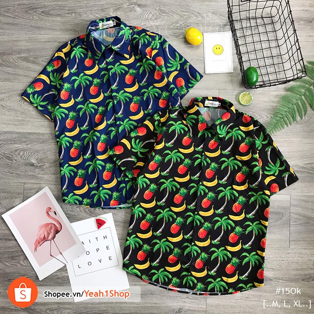 [Yeah1Shop]- Áo sơ mi trái cây thơm- cây dừa (M,L,XL)
