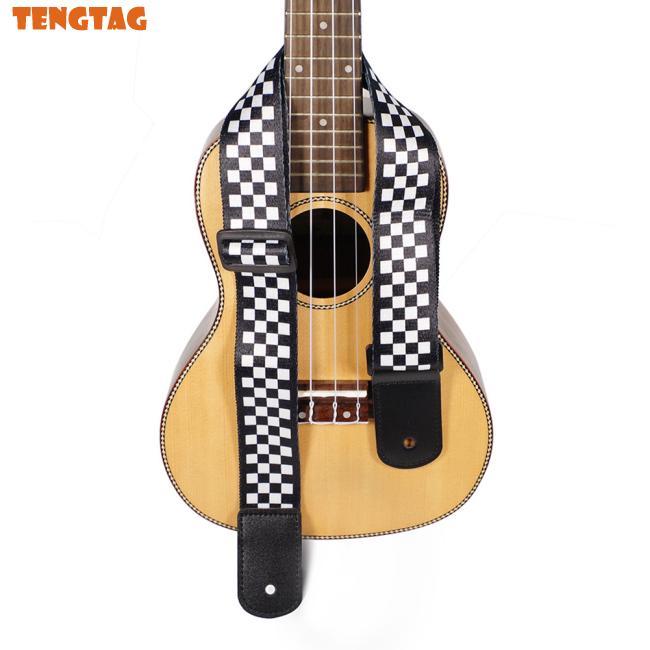 Electric Guitar Strap Black White Plaid Acoustic Guitar Strap Ukulele Bass Strap Guitar Accessories