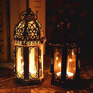 Moroccan Glass Candle Holder Wrought Iron Wind Lamp Candle Home Bar Holder Creative Decoration D2W8