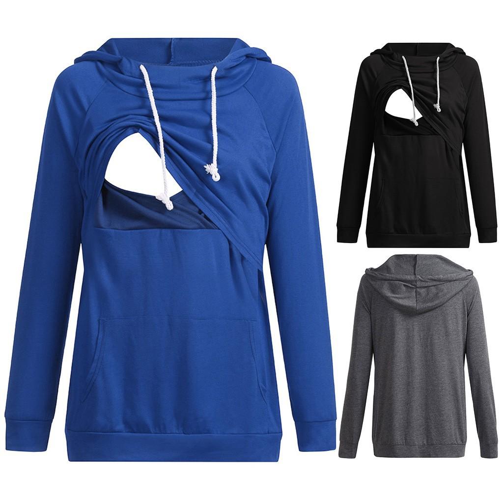 Áo hoodie tay dài dành cho phụ nữ mang thai và cho con bú