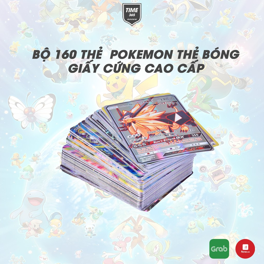 Bộ 160 thẻ bài Pokemon cao cấp giấy bóng cứng cáp