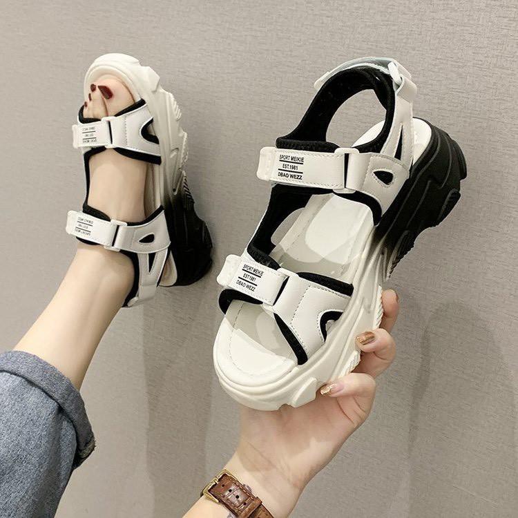 (VIDEO THẬT) Sandal Nữ 2 Quai Sport Kiểu Dáng Học Sinh Đế Màu, 3 Màu Dễ Chọn Cho Nàng